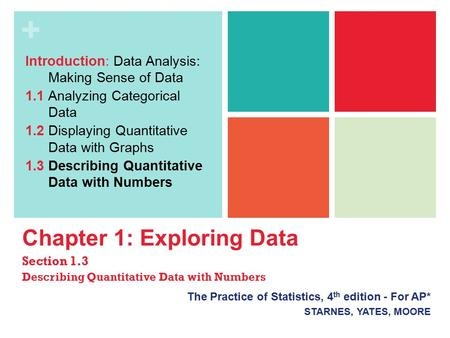 + Chapter 1: Exploring Data Section 1.3 Describing Quantitative Data with Numbers The Practice of Statistics, 4 th edition - For AP* STARNES, YATES, MOORE.