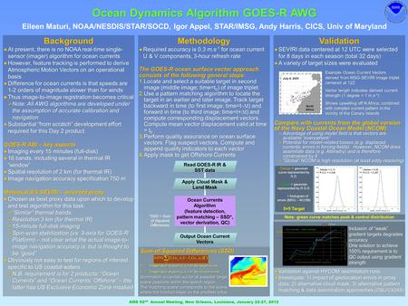 Ocean Dynamics Algorithm GOES-R AWG Eileen Maturi, NOAA/NESDIS/STAR/SOCD, Igor Appel, STAR/IMSG, Andy Harris, CICS, Univ of Maryland AMS 92 nd Annual Meeting,