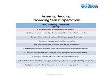 Focus Education 20141 Assessing Reading: Exceeding Year 2 Expectations Year 2 Exceeding Expectations: Reading Enhance meaning through expression and intonation.