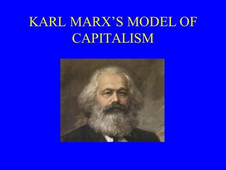 KARL MARX'S MODEL OF CAPITALISM. Preview Karl Marx (1818-1883) Marx's dialectical materialism –economic evolution Rise and fall of capitalism –labor theory.