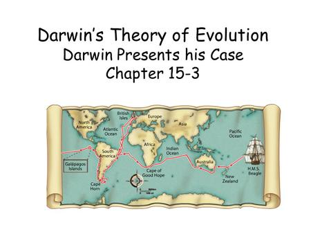 Darwin's Theory of Evolution Darwin Presents his Case Chapter 15-3.