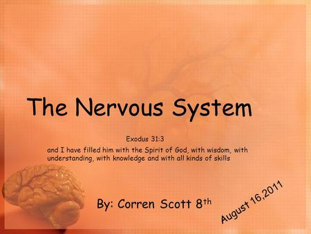 The Nervous System Exodus 31:3 and I have filled him with the Spirit of God, with wisdom, with understanding, with knowledge and with all kinds of skills.