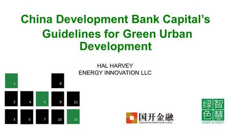China Development Bank Capital's Guidelines for Green Urban Development HAL HARVEY ENERGY INNOVATION LLC.