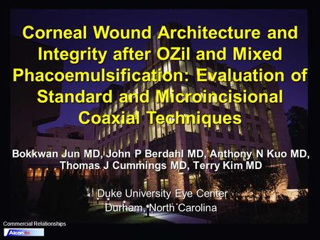 Corneal Wound Architecture and Integrity after OZil and Mixed Phacoemulsification: Evaluation of Standard and Microincisional Coaxial Techniques Bokkwan.