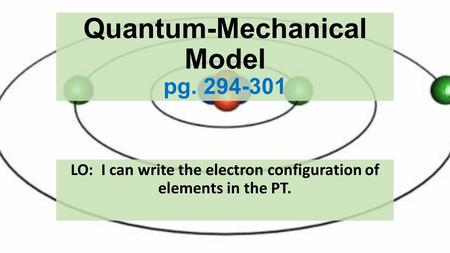Quantum-Mechanical Model pg. 294-301 LO: I can write the electron configuration of elements in the PT.