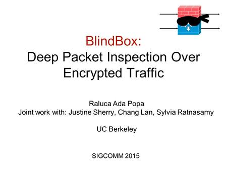 BlindBox: Deep Packet Inspection Over Encrypted Traffic SIGCOMM 2015 Raluca Ada Popa Joint work with: Justine Sherry, Chang Lan, Sylvia Ratnasamy UC Berkeley.