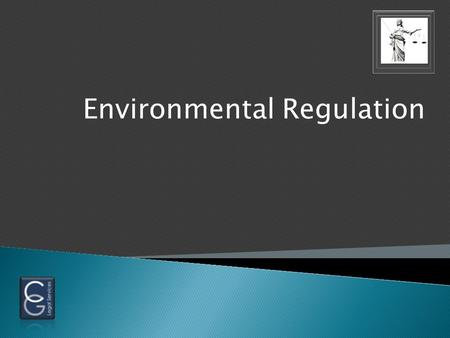 Environmental Regulation.  Complex set of laws  Constantly changing  Cover: Release, treatment, storage and disposal of Hazardous materials Into air,