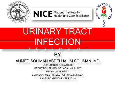 URINARY TRACT INFECTION P R O T O C O L BY AHMED SOLIMAN ABDELHALIM SOLIMAN,MD LECTURER OF PEDIATRICS PEDIATRIC NEPHROLOGY &DIALYSIS UNIT BENHA UNIVERISITY.