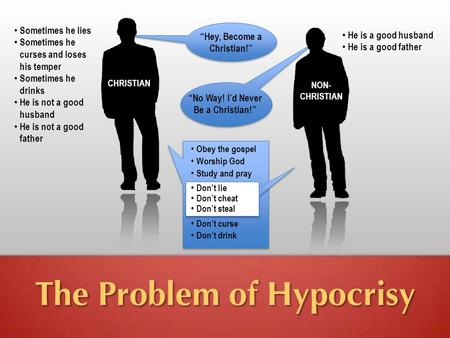 "The Problem of Hypocrisy ""No Way! I'd Never Be a Christian!"" Sometimes he lies Sometimes he curses and loses his temper Sometimes he drinks He is not a."
