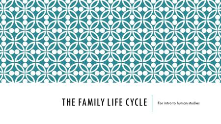 THE FAMILY LIFE CYCLE For intro to human studies.
