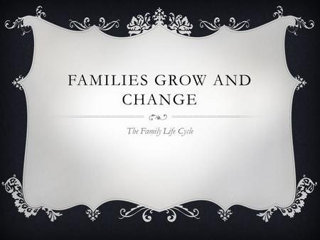 FAMILIES GROW AND CHANGE The Family Life Cycle. FAMILIES CHANGE  Human development: from the beginning of life, to the end, people develop and change.