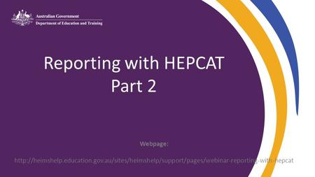 Reporting with HEPCAT Part 2 Webpage: