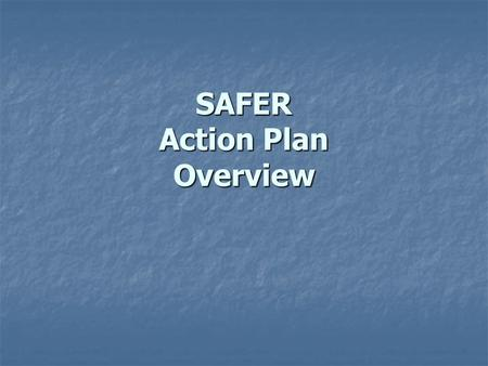 SAFER Action Plan Overview. Action Plan Components Enforcement operations (including tools Enforcement operations (including tools that focus on party.