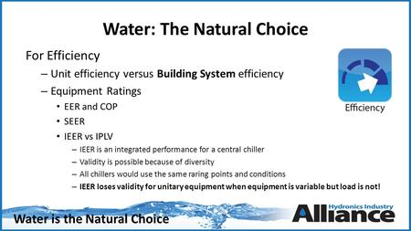 Water is the Natural Choice Water: The Natural Choice For Efficiency – Unit efficiency versus Building System efficiency – Equipment Ratings EER and COP.