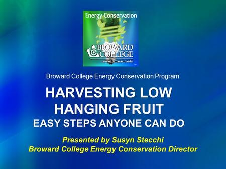 HARVESTING LOW HANGING FRUIT EASY STEPS ANYONE CAN DO Broward College Energy Conservation Program Presented by Susyn Stecchi Broward College Energy Conservation.