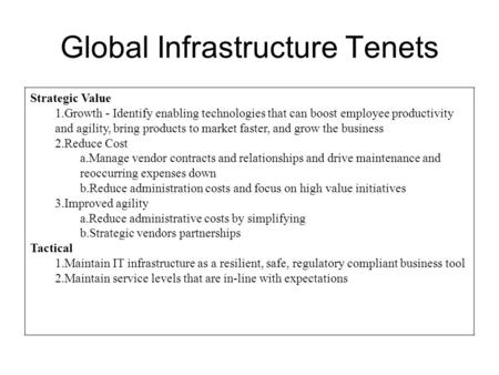 Global Infrastructure Tenets Strategic Value 1.Growth - Identify enabling technologies that can boost employee productivity and agility, bring products.