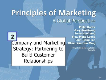 Company and Marketing Strategy: Partnering to Build Customer Relationships A Global Perspective 2 Philip Kotler Gary Armstrong Swee Hoon Ang Siew Meng.