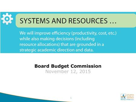 1 Board Budget Commission November 12, 2015. Agenda Purpose, Goals, and Parameters -10 Minutes Calendar and Timeline -5 Minutes Staffing Allocations -5.
