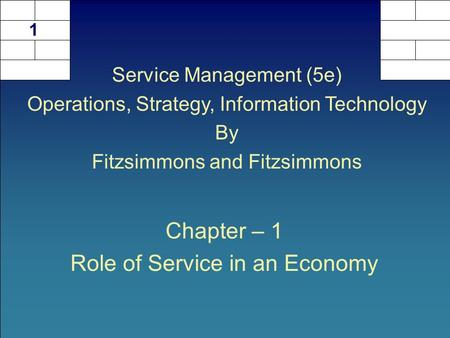 Chapter – 1 Role of Service in an Economy