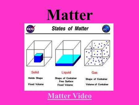 Matter Matter Video Matter Video Lesson Goals and Objectives You will learn about the three states of matter You will learn what physical changes are.
