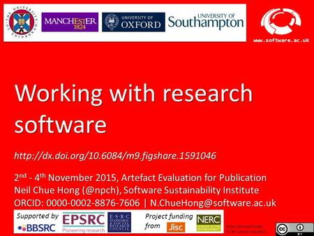 Software Sustainability Institute  Working with research software  2 nd - 4 th November.