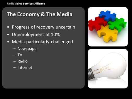 Radio Sales Services Alliance Progress of recovery uncertain Unemployment at 10% Media particularly challenged –Newspaper –TV –Radio –Internet Progress.