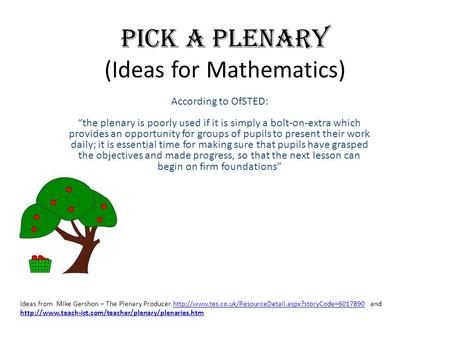 Pick a Plenary (Ideas for Mathematics)