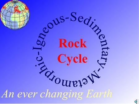 An ever changing Earth Rock Cycle Magma A body of molten rock found at depth. (2000 °F)