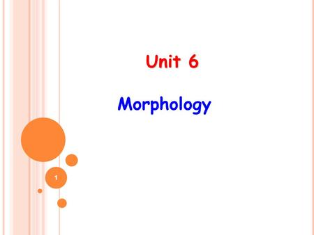 Unit 6 Unit 6 Morphology 1. 2 It is a branch of linguistics which is concerned with  the relation between meaning and form, within words and between.