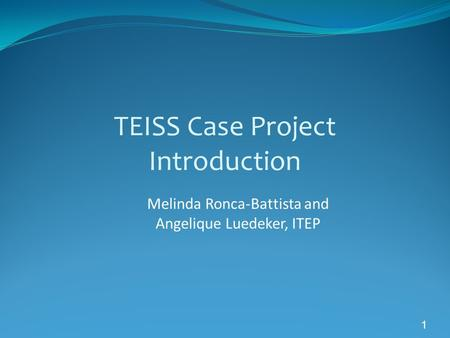 1 TEISS Case Project Introduction Melinda Ronca-Battista and Angelique Luedeker, ITEP.