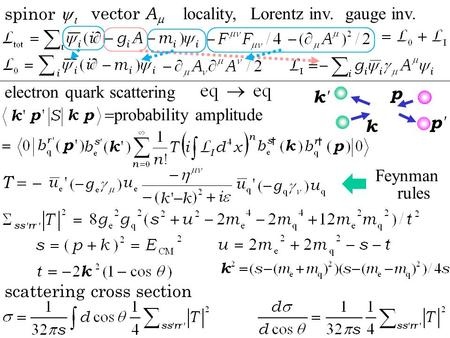 K p k'k' p'p'  probability amplitude locality,Lorentz inv.gauge inv. spinor   vector A  T  electron quark scattering scattering cross section Feynman.
