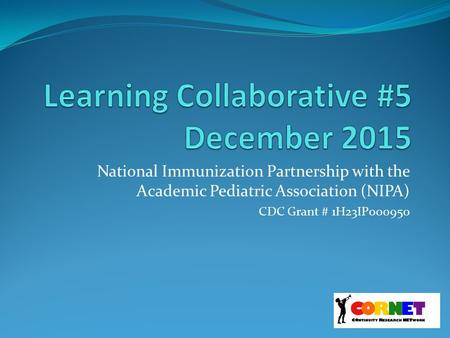 National Immunization Partnership with the Academic Pediatric Association (NIPA) CDC Grant # 1H23IP000950.