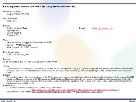 C80216m-09_2941 Slide #1 Re-arrangement of fields in the GRA IEs – Proposed Amendment Text Document Number: IEEE C80216m-09_2941 Date Submitted: 2009-12-31.