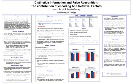 Conclusions  Results replicate prior reports of effects of font matching on accurate recognition of study items (Reder, et al., 2002)  Higher hits when.