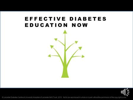 EFFECTIVE DIABETES EDUCATION NOW © Leicester Diabetes Centre at University Hospitals of Leicester NHS Trust, 2015. Not to be reproduced in whole or in.