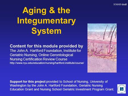 5/30/05 draft Aging & the Integumentary System Support for this project provided to School of Nursing, University of Washington by the John A. Hartford.