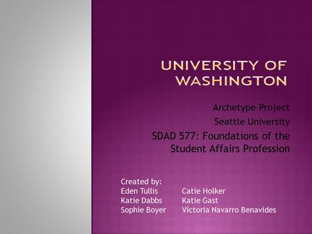 Archetype Project Seattle University SDAD 577: Foundations of the Student Affairs Profession Created by: Eden Tullis Catie Holker Katie DabbsKatie Gast.