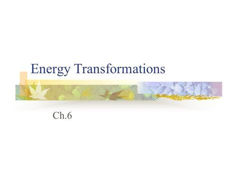 Energy Transformations Ch.6 Types of Systems? CLOSED, exchanges only energy OPEN, exchanges matter and energy.