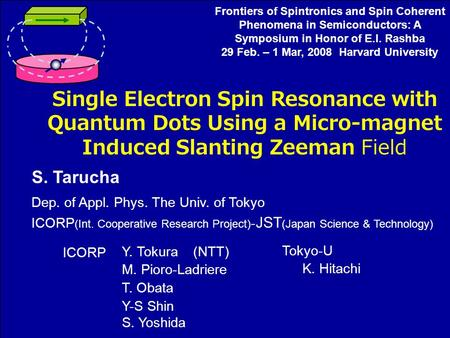 Single Electron Spin Resonance with Quantum Dots Using a Micro-magnet Induced Slanting Zeeman Field S. Tarucha Dep. of Appl. Phys. The Univ. of Tokyo ICORP.