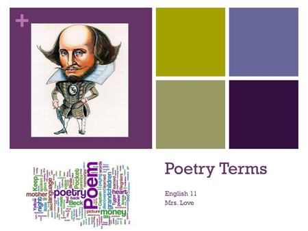"+ Poetry Terms English 11 Mrs. Love. + Alliteration The repetition of the beginning sounds of words ""Peter Piper picked a peck of pickled peppers,"" ""long-"