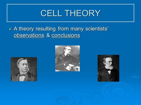 CELL THEORY  A theory resulting from many scientists' observations & conclusions Sch wan n Sch leid en Virc how.