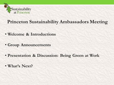 Princeton Sustainability Ambassadors Meeting Welcome & Introductions Group Announcements Presentation & Discussion: Being Green at Work What's Next?