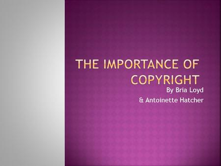 By Bria Loyd & Antoinette Hatcher.  What is copyright?  Does the public have rights to download music, pictures, and written work?  What is plagiarism?