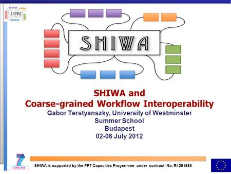 SHIWA and Coarse-grained Workflow Interoperability Gabor Terstyanszky, University of Westminster Summer School Budapest 02-06 July 2012 SHIWA is supported.