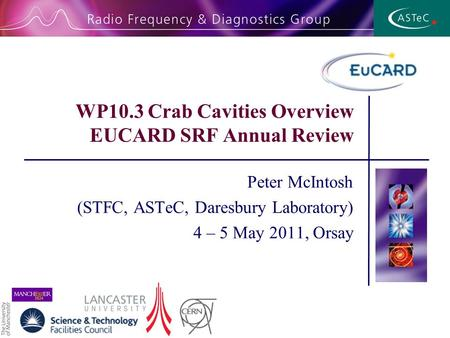 WP10.3 Crab Cavities Overview EUCARD SRF Annual Review Peter McIntosh (STFC, ASTeC, Daresbury Laboratory) 4 – 5 May 2011, Orsay.