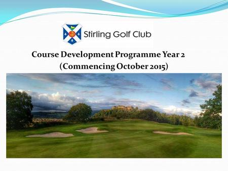 Course Development Programme Year 2 (Commencing October 2015)