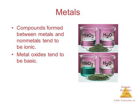 Periodic Properties of the Elements © 2009, Prentice-Hall, Inc. Metals Compounds formed between metals and nonmetals tend to be ionic. Metal oxides tend.