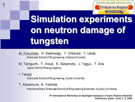 9 th International Workshop on Hydrogen Isotopes in Fusion Reactor Materials Salamanca, Spain, June 2 - 3, 2008 1 Simulation experiments on neutron damage.