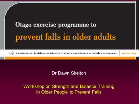 Dr Dawn Skelton Workshop on Strength and Balance Training in Older People to Prevent Falls.