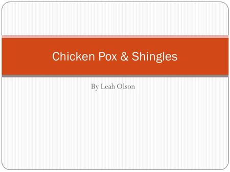 Chicken Pox & Shingles By Leah Olson.